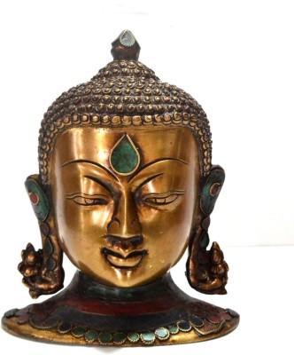 Collectible India 8 Antique Finish Tibetan Buddha Bust Head Sculture Wall Decor Art with Gemstone Work Showpiece - 19.2 cm
