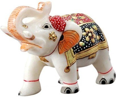 Pooja Creation Handmade Marble Elephant Showpiece  -  10 cm