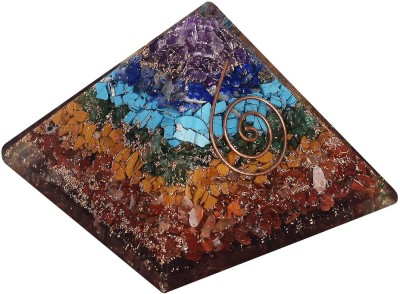 The Crystal Jewel Orgonite Chakra colour chips Pyramid Showpiece  -  6.5 cm