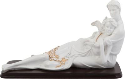 JaipurCrafts Loving Couple Showpiece  -  17.78 cm(Polyresin, White, Gold)
