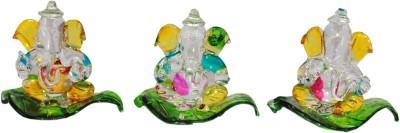 Odisha Bazaar Crystal Good Luck Ganesha Car Dashboard on Peepal Leaf for Gift (Set of-3 ganesha) Showpiece  -  3 cm