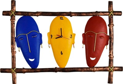 DIZIONARIO Wrought Iron Three Mask Designed Handcrafted Decorative Wall Clock Hanging 58x40cm Showpiece  -  40 cm
