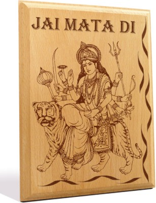Tiedribbons Jai Mata Di Engraved Plaque Showpiece  -  18 cm(Wooden, Brown)