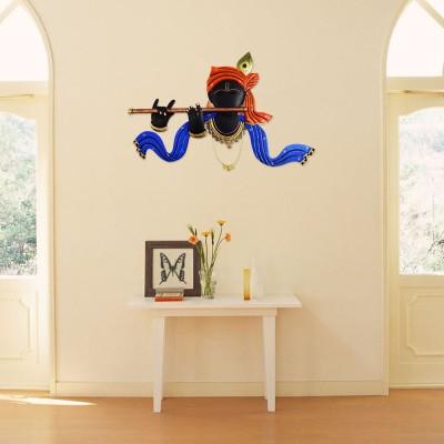 DIZIONARIO Wrought Iron Krishna Playing Murli Designed Handcrafted Decorative Wall Hanging 63x41.5cm Showpiece  -  41.5 cm