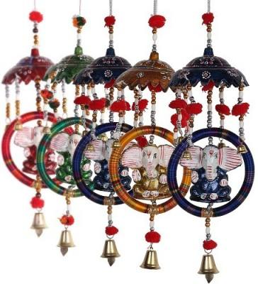 HanumantCreations Handcrafted Ring & Chhatra Ganesha Door Hanging Showpiece  -  30 cm
