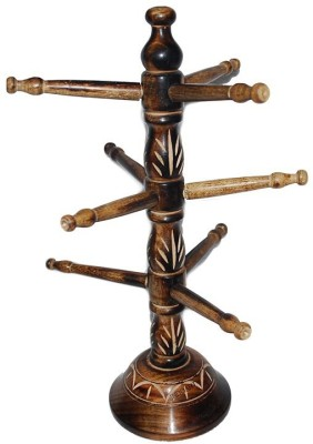 You2Deal Wooden Bangle Cum Mug Stand Vertical 9 Stick Showpiece  -  35 cm