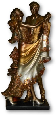 Sudesh Decor Metallic Copper Golden Silver Dancing Couple Show Piece Showpiece  -  41 cm