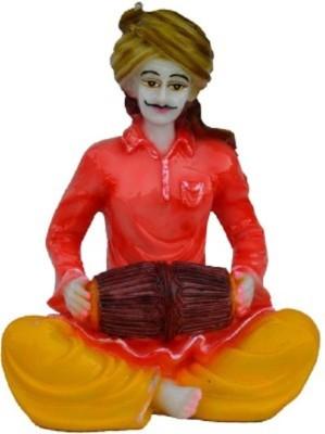 HanumantCreations Rajasthani Musician Statue Playing Dholak Showpiece  -  15.24 cm