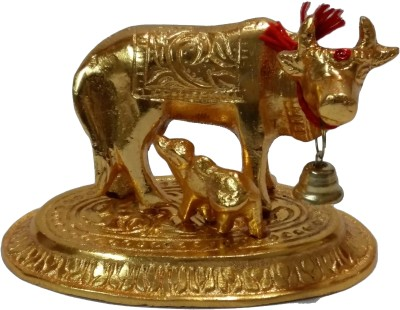 Vastughar Mata Kamdhenu With Calf Idol Statue In White Metal Showpiece  -  6.5 cm(Zinc, Gold)