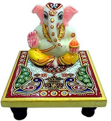 EtsiBitsi EtsiBitsi Divine Vakrtunda Marble Chowki Ganesh Showpiece  -  11.5 cm