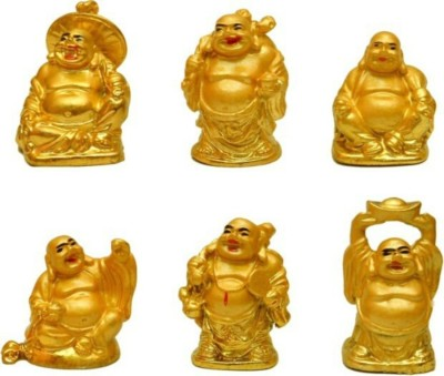 Fengshui laughing buddha set of 6 Showpiece  -  5 cm(Polyresin, Yellow)