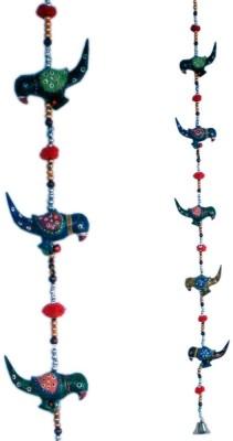 Traditional Rajasthan Rajasthani Handmade Colorful Bird Door Hanging Colourful Hanging Showpiece  -  105 cm