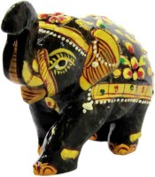 SS Murti Handicrafts Traditional Decorative Black Agate Stone Painted Elephant 3 Inch Showpiece  -  8 cm(Stoneware, Black)