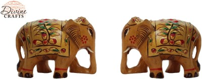 Divinecrafts Set of 2 Gold Painted Elephant Statue Showpiece Showpiece  -  5.3 cm