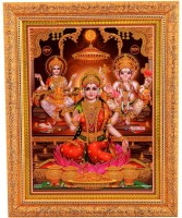 BM Traders Golden Zari Work Photo Of Laxmi Poojan With Gloden Frame Showpiece  -  35.56 cm(Wooden, Gold)