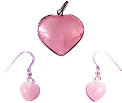 SHOPOJ Rose Quartz Pendent And Earrings Showpiece - 2 cm(Stoneware, Pink)