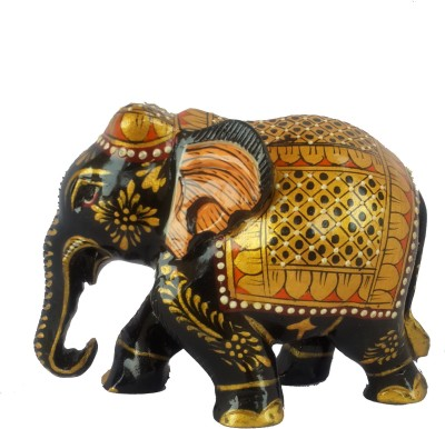 Divinecrafts Decorative Gold Painted Elephant Statue Showpiece  -  8 cm