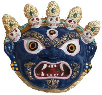 Vastughar Mahakaal Metal Wall Hanging, Najarbatoo,Evil Eye Protector,Nepali Mask Showpiece  -  16.5 cm(Iron, Blue)