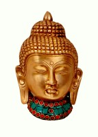 Aesthetic Decors Buddha Head Wall Hanging W Stone Work Showpiece  -  14 cm(Brass, Multicolor)