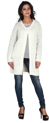 Jugniji Solid Round Neck Casual Women's White Sweater
