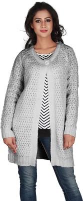 Jugniji Solid Round Neck Casual Women's Grey Sweater