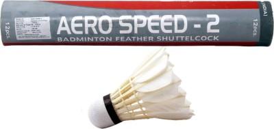 Maspro Badminton Shuttle Cork Aerospeed -2(Pack of 12) Feather Shuttle  - White