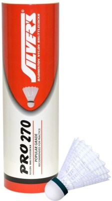 Silver's Pro 270 Nylon Shuttle  - White(Pack of 6)