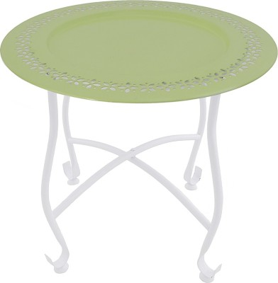 The Yellow Door Round Morrcan Table with Green Top Metal Side Table