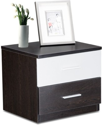 Debono Engineered Wood Bedside Table(Finish Color - Brown and Silver)
