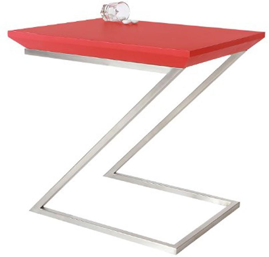 View Lekiaan Engineered Wood Side Table(Finish Color - Red matt and SS matt) Furniture (Lekiaan)