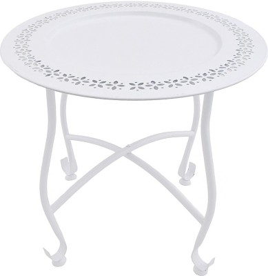 The Yellow Door Round Morrocan Table with White Top Metal Side Table