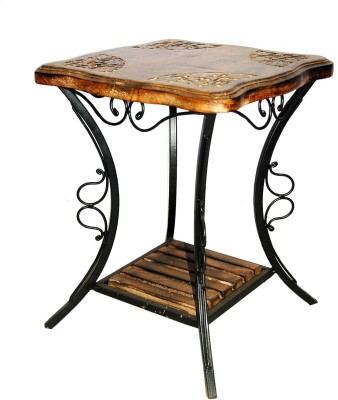 Acme Production 05 Metal Side Table(Finish Color - Walnut Brown)