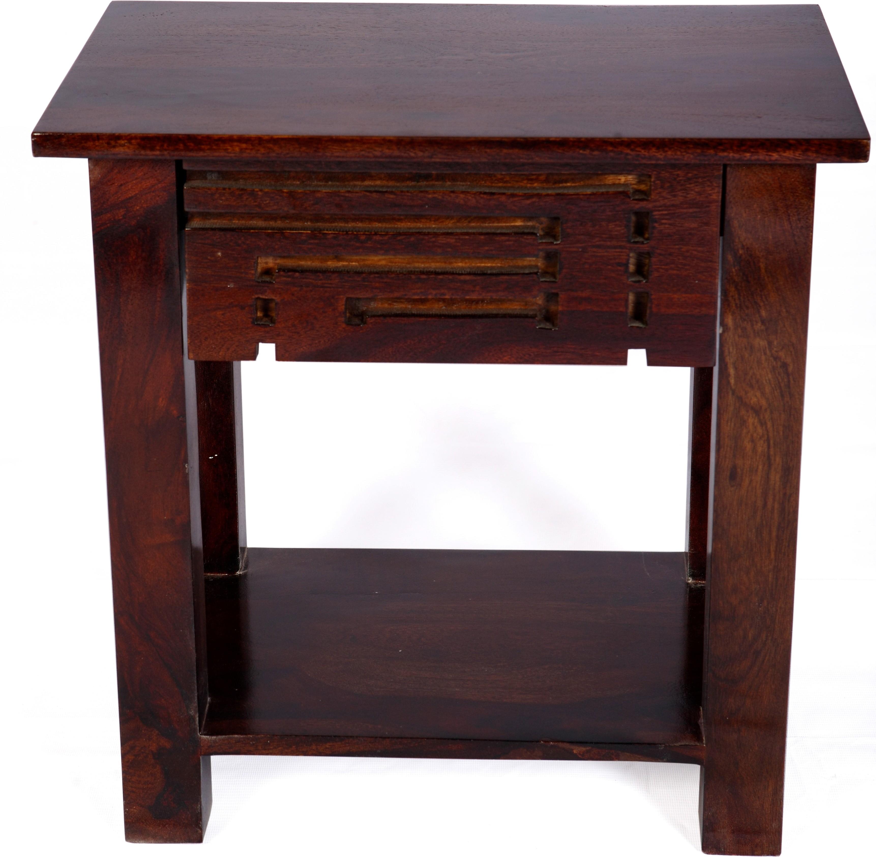 View Evok Solid Wood Side Table(Finish Color - Walnut) Price Online(Evok)