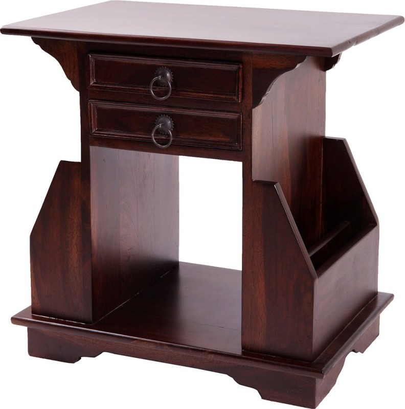 Wood Dekor Solid Wood Side Table(Finish Color - Dark Brown)
