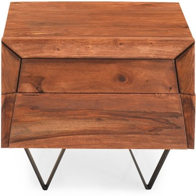 @home by Nilkamal Axial Solid Wood Bedside Table