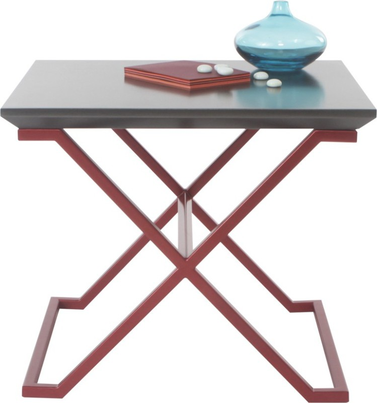 Lekiaan Engineered Wood Side Table(Finish Color - Carbon and Red blaze)