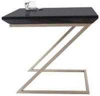 Lekiaan Engineered Wood Side Table(Finish Color - Black and Champagne)