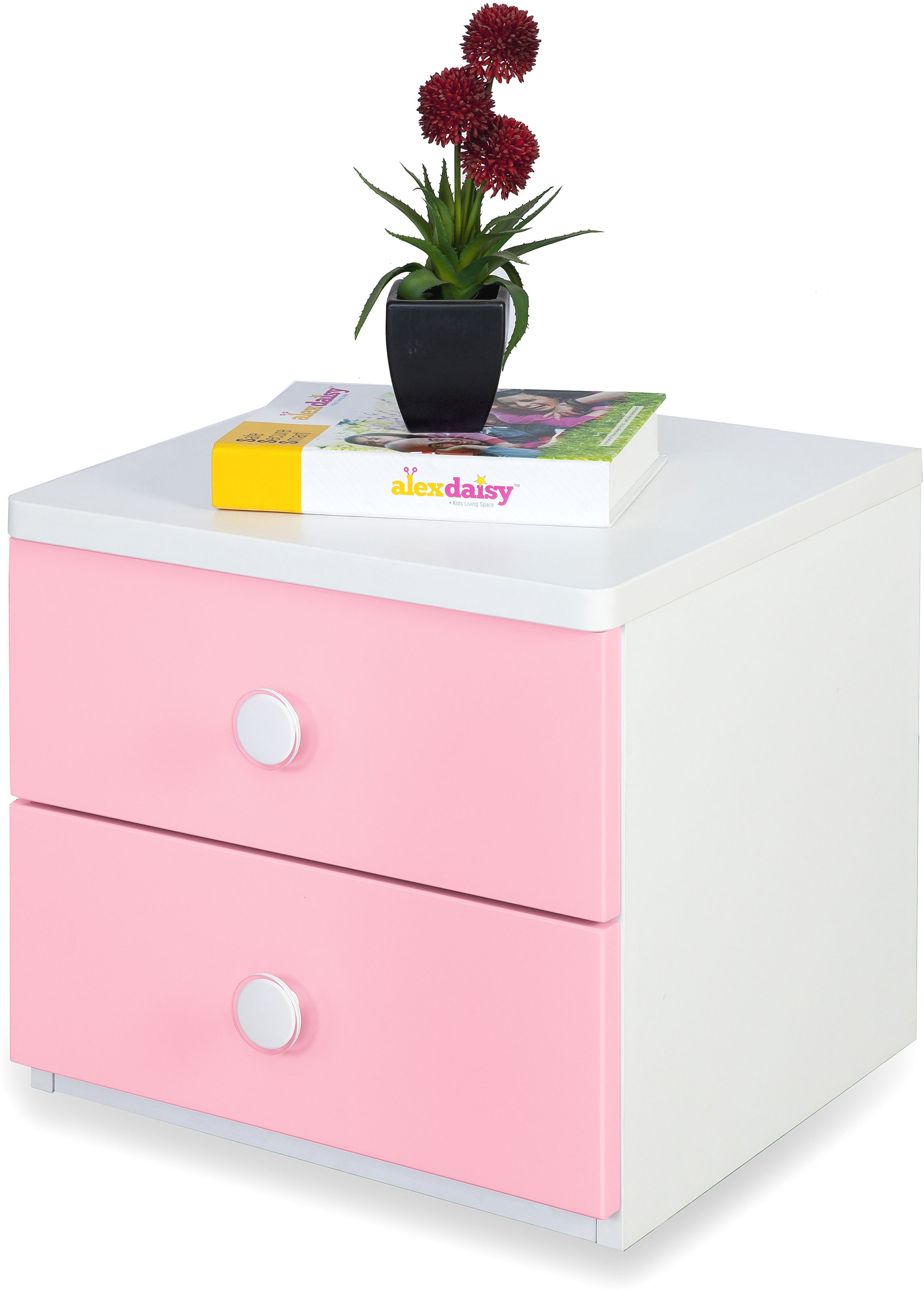 View Alex Daisy Victoria Engineered Wood Bedside Table(Finish Color - Pink & White) Price Online(Alex Daisy)