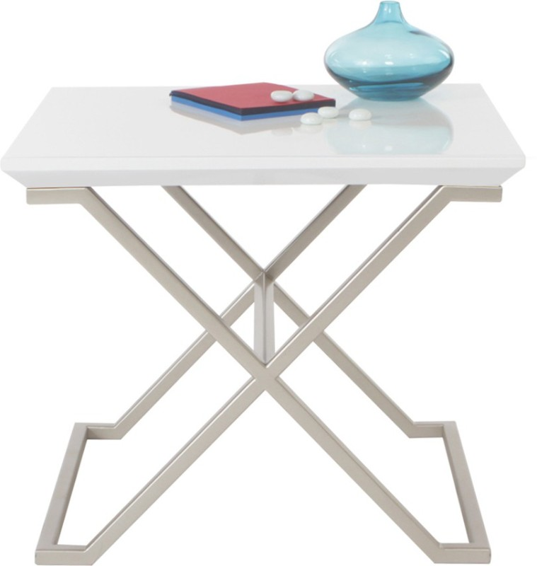 Lekiaan Engineered Wood Side Table(Finish Color - White and Champagne)