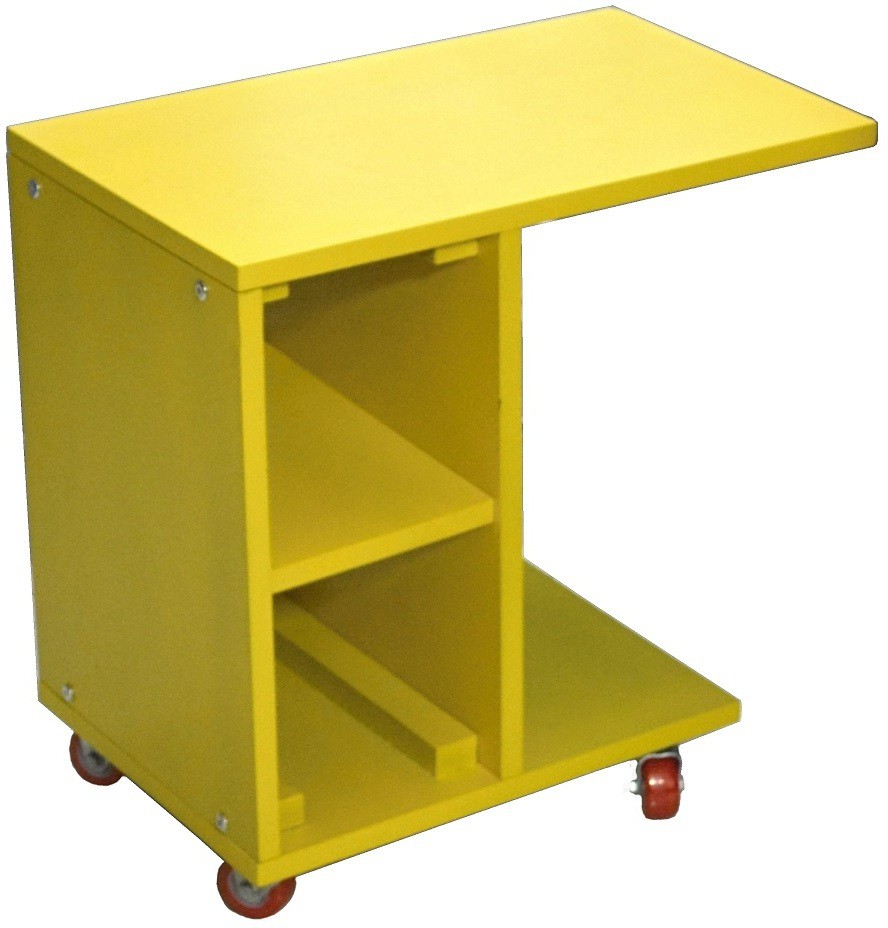 View Mubell Pustas Multipurpose Mobile Engineered Wood Side Table(Finish Color - Yellow) Furniture (Mubell)
