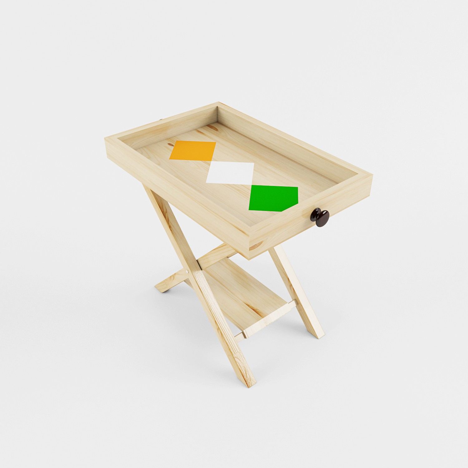 View Smalshop Independence Day Special Solid Wood Side Table(Finish Color - Natural Pine with Tricolor Paint Details) Price Online(Smalshop)