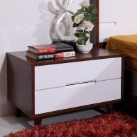 Evok Lukas Engineered Wood Bedside Table(Finish Color - White + Walnut)