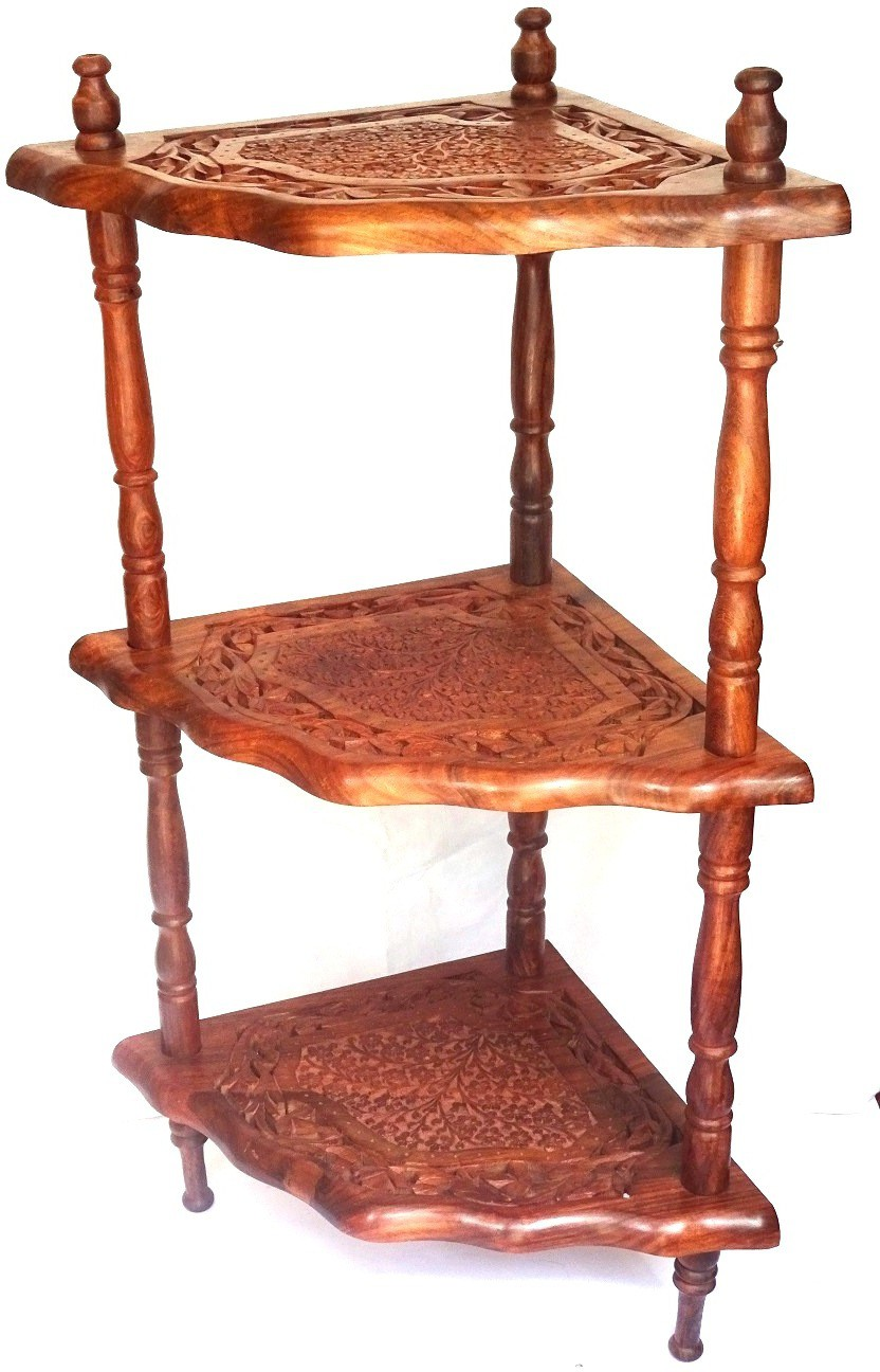 View Woodpedlar Corner Table Rose Solid Wood Corner Table(Finish Color - Brown) Furniture (Woodpedlar)
