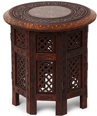 View Simran Handicrafts ROUND055 Solid Wood Side Table(Finish Color - BROWN) Furniture (Simran Handicrafts)