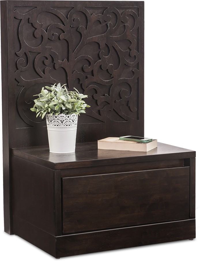 View Durian WILSON/NT/A Solid Wood Bedside Table(Finish Color - Wenge) Price Online(Durian)