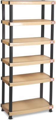 Surprise Heavy Duty Shelf 6 Plate Plastic Bedside Table