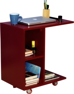 Mubell Red Side Table/Laptop Table on Wheels Engineered Wood Side Table