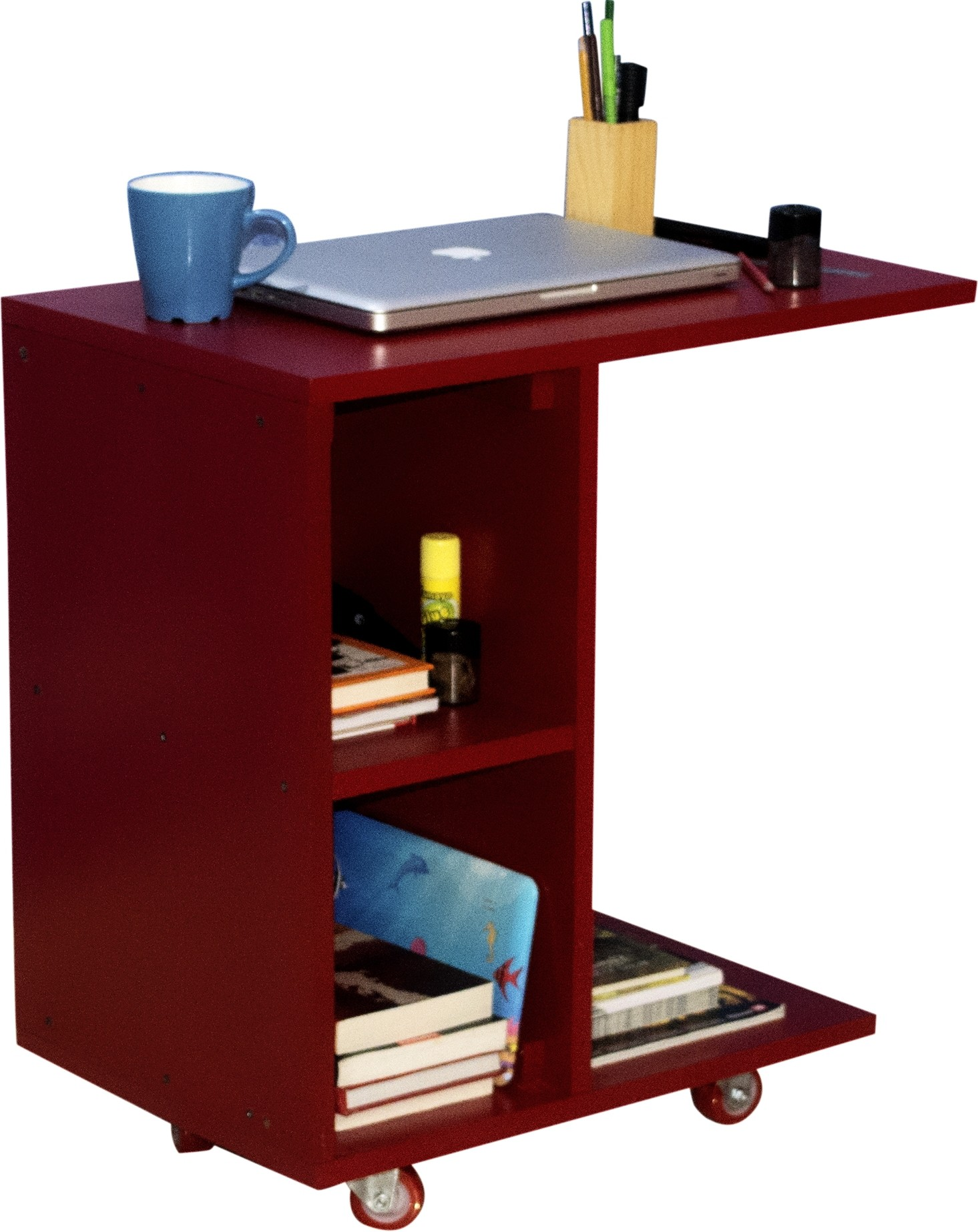 View Mubell Red Side Table/Laptop Table on Wheels Engineered Wood Side Table(Finish Color - Red) Furniture (Mubell)