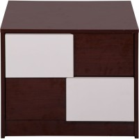 Evok Florida Engineered Wood Bedside Table(Finish Color - Walnut + cream)