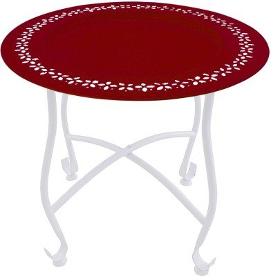The Yellow Door Round Morrocan Table with Red Top Metal Side Table